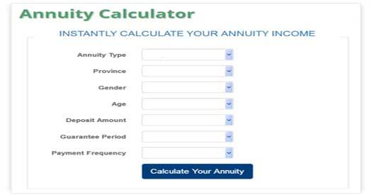 annuity calculator annuity calculator for canada lifeannuities com