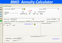screenshot bmo annuity calculator