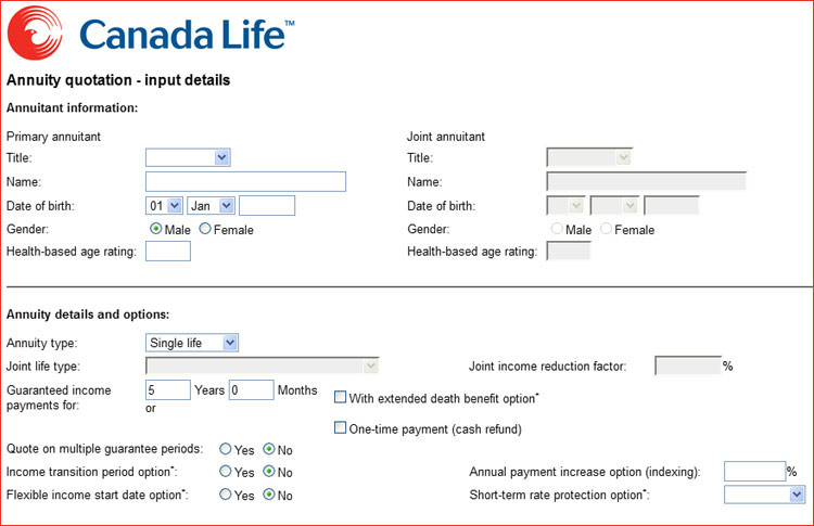 canada life annuity calculator calculate a canada life annuity