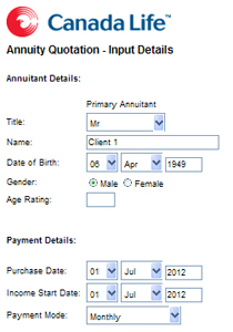 screenshot canada life annuity calculator