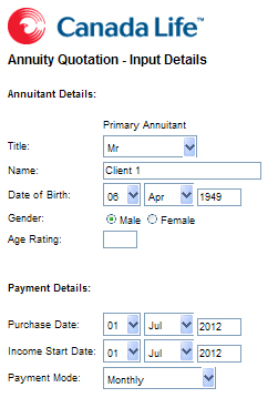 canaad life annuity calculator