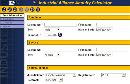 industrial alliance annuity calculator