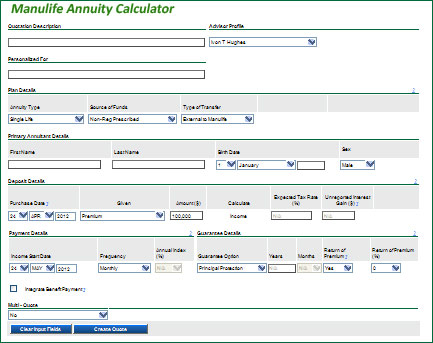 manulife annuity calculator calculate your annuity quote using a