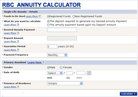 rbc insurance annuity calculator