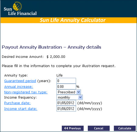 sun life annuity calculator calculate your annuity income
