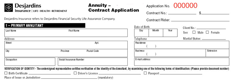 desjardins annuity application