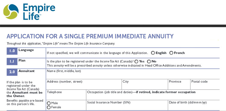 empire life annuity application
