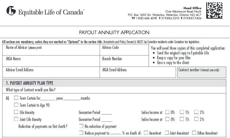 equitable life annuity application