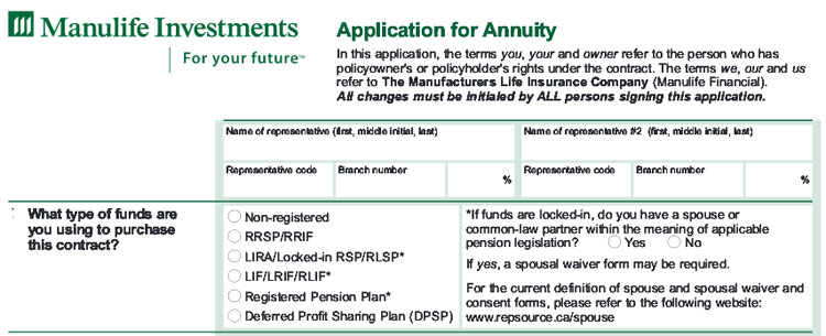 manulife annuity application