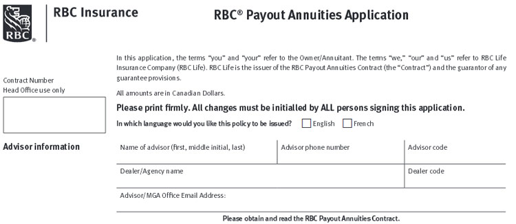 rbc insurance annuity application
