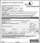 Sun Life annuity application