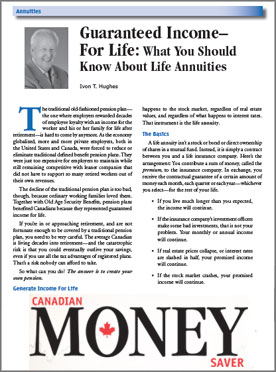 Canadian MoneySaver Magazine: Guaranteed Income for Life