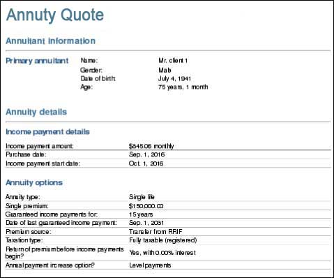 Step 3: Review the annuity quote
