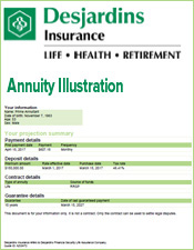 Desjardins Insurance Annuity Illustration