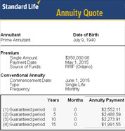 standard life annuity illustration