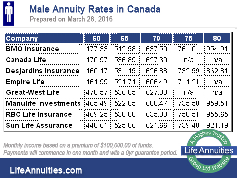 male annuity rates