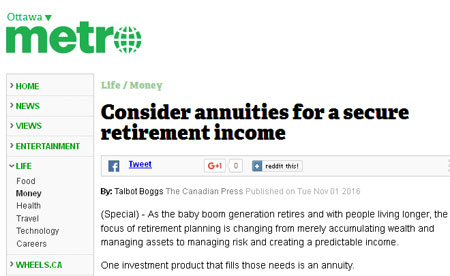 consider annuities for a retirement income